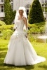 High Collar Dipped Princess Appliqued Floor-length Wedding Dress