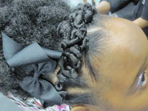 mizanibraids3.jpg - 4a, Short hair styles, Medium hair styles, Kids hair, Updos, Kinky hair, Braids, Female, Black hair, Formal hairstyles, Kinky twists, Afro puff, Natural Hair Celebration, Textured Tales from the Street Hairstyle Picture