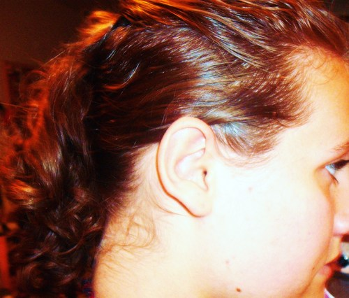 Side of my attempted curlhawk - Brunette, Blonde, Updos, Long hair styles, Readers, Styles, Female, Curly hair, Teen hair, Mohawk, Punk hair, Ponytail Hairstyle Picture