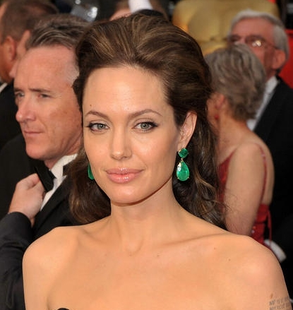 Angelina Jolie - Brunette, 2b, Celebrities, Updos, Long hair styles, Special occasion, Female, 2009 Academy Awards Hairstyle Picture