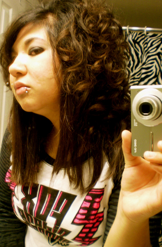 Julz' Curly Scene Hair - Brunette, 3a, Long hair styles, Styles, Female, Curly hair, Scene hair, Emo hair Hairstyle Picture