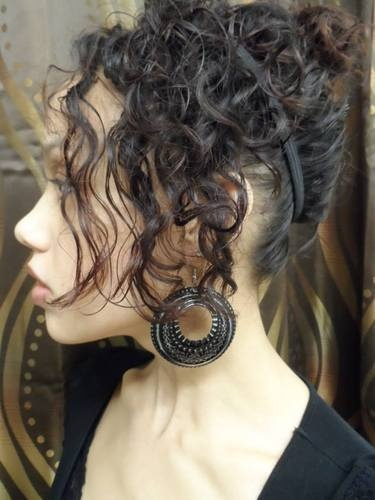 Grecian Style Curl Updo - Brunette, 3b, Short hair styles, Updos, Readers, Female, Adult hair Hairstyle Picture