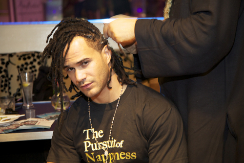 Man with Locs Styled at Curly Po - Male, Medium hair styles, Kinky hair, Black hair, Adult hair, Dreadlocks, Textured Tales from the Street Hairstyle Picture