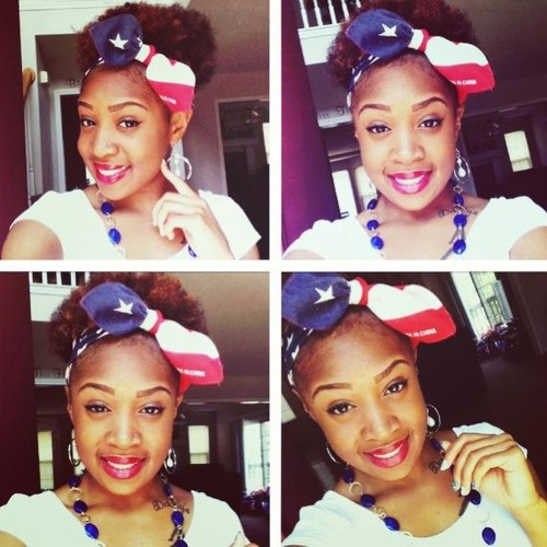 Fourth of July  - 4a, Short hair styles, Adult hair, Formal hairstyles, Afro puff Hairstyle Picture
