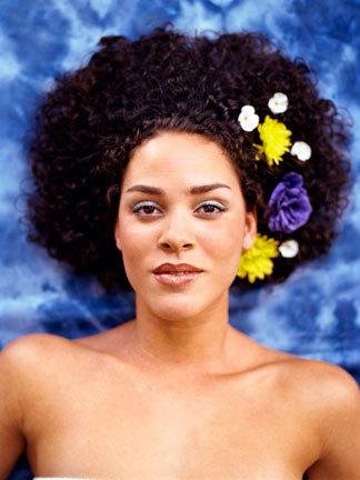 Flowery Fun - Brunette, Medium hair styles, Kinky hair, Afro, Styles, Female, Black hair, 4c Hairstyle Picture