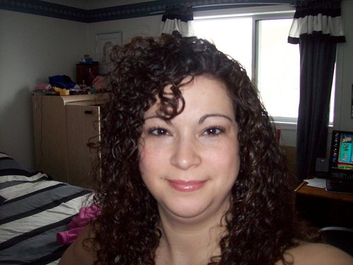 New Curly Bangs - Brunette, 3b, Medium hair styles, Long hair styles, Readers, Styles, Female, Curly hair, Adult hair Hairstyle Picture