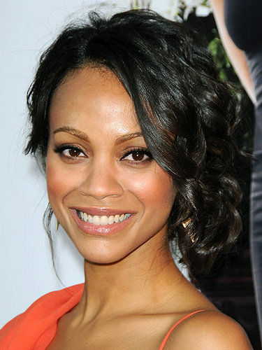 Zoe Saldana - Celebrities, Short hair styles, Medium hair styles, Updos, Kinky hair, Long hair styles, Wedding hairstyles, Female, Curly hair, Black hair, Prom hairstyles, Formal hairstyles, Curly kinky hair Hairstyle Picture