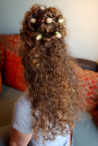 Creative Curly Half Up Half Down - Updos, Long hair styles, Female, Curly hair Hairstyle Picture
