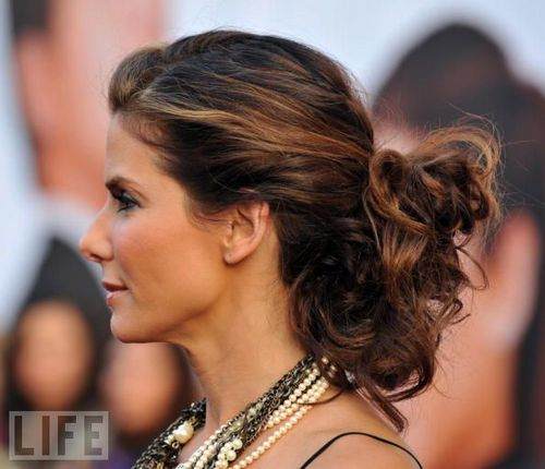 Sandra Bullock - Brunette, 3a, Celebrities, Updos, Female, Curly hair, Formal hairstyles, Knots, Buns Hairstyle Picture