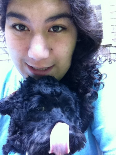 Me and my pup! :D - 3a, Medium hair styles, Female, Teen hair Hairstyle Picture