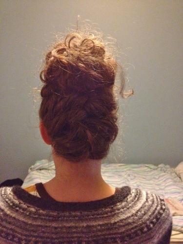 French braid + bun - 3b, 2b, 3a, 3c, 4a, 4b, Wavy hair, Updos, Kinky hair, Long hair styles, Braids, Female, Curly hair, 2c, Adult hair, Straight hair, Buns, Curly kinky hair, 4c Hairstyle Picture