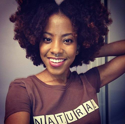 Quick No-Heat Blow Out for 4 - Brunette, 4b, Short hair styles, Kinky hair, Female, Curly hair, Teen hair, Adult hair, Afro puff, Curly kinky hair, 4c Hairstyle Picture