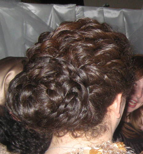 Twisted updo for a wedding - Brunette, 3b, Updos, Long hair styles, Twist hairstyles, Braids, Wedding hairstyles, Fall hair, Winter hair, Styles, Special occasion, Female, Curly hair Hairstyle Picture