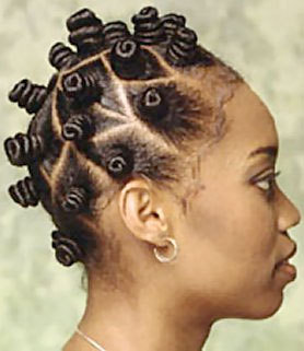Bantu Knots - Brunette, Kinky hair, Styles, Female, Black hair, Adult hair, Bantu knots, Nubian knots Hairstyle Picture