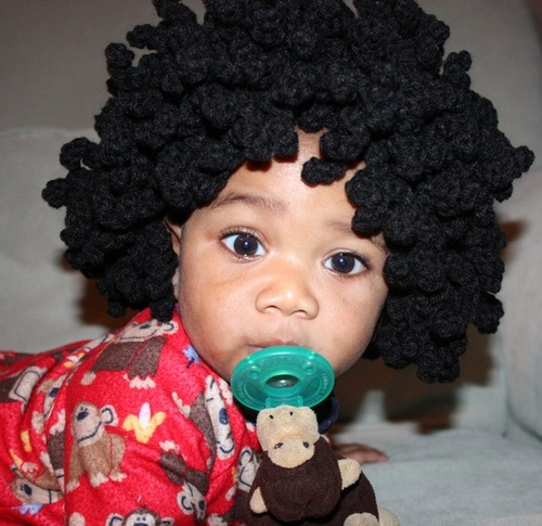 Crochet Afro Wig - 4a, Mature hair, Male, Medium hair styles, Kids