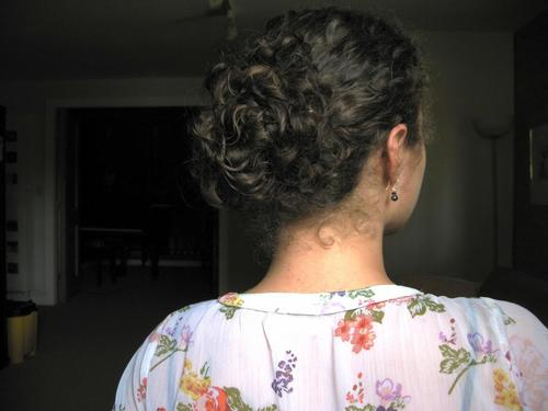 Loose and Wild Bun - Brunette, 3b, 3a, 3c, 4a, 4b, Medium hair styles, Updos, Long hair styles, Wedding hairstyles, Readers, Female, Curly hair, Prom hairstyles, Formal hairstyles, Homecoming hairstyles, Buns, Curly kinky hair Hairstyle Picture