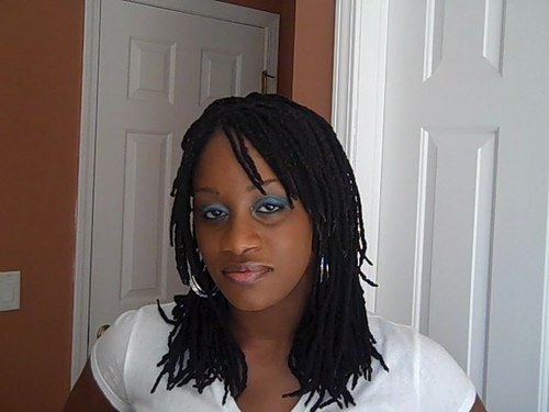 Yarn Braids with a Bang - Brunette, Kinky hair, Female, Teen hair, Adult hair Hairstyle Picture