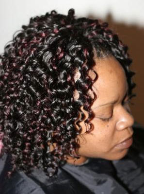 Sew-in Braid - Medium hair styles, Styles, Female, Curly hair, Black hair, Adult hair, Weave hairstyles Hairstyle Picture