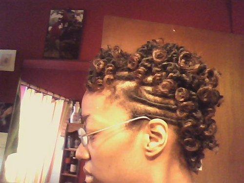 Curly Fries Mohawk - Blonde, 4a, 4b, Medium hair styles, Kinky hair, Twist hairstyles, Readers, Black hair, Adult hair, Bantu knots, Mohawk, Curly kinky hair, 4c Hairstyle Picture
