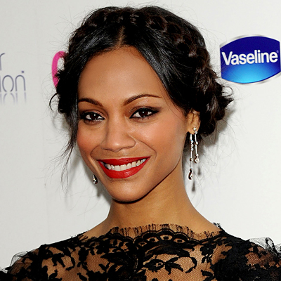 Zoe Saldana - Celebrities, Wavy hair, Medium hair styles, Updos, Long hair styles, Braids, Female, Black hair Hairstyle Picture