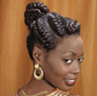 Curly Hair Style: Goddess braids