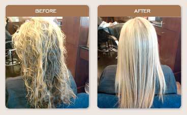 Brazilian Blowout Straightening - Blonde, Long hair styles, Female, Curly hair, Makeovers, Adult hair, Straight hair Hairstyle Picture