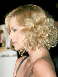 Charlize Theron - Blonde, Celebrities, Medium hair styles, Wedding hairstyles, Female, Curly hair, Adult hair, Prom hairstyles, Formal hairstyles, Homecoming hairstyles, Pin curls Hairstyle Picture
