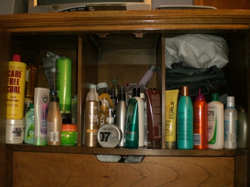 7 of 7 - 3c, Long hair styles, Female, Curly hair, Black hair, Show Us Your Bathroom Cabinet Contest Hairstyle Picture